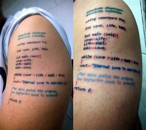 tattoo of computer code quot i love gabi quot cringeanarchy