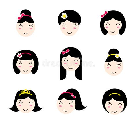 cute hairstyles vector set of cute anime girl characters with different