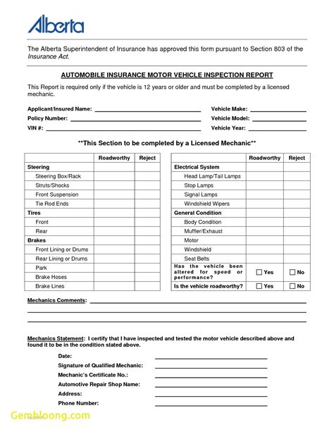motor vehicle form template fresh vehicle inspection form template best templates