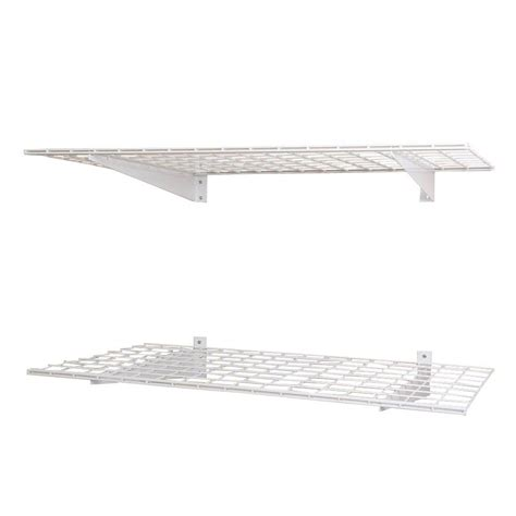 White Wire Wall Shelf Hyloft 2 Shelf 48 In W Wire Garage Wall Storage System In