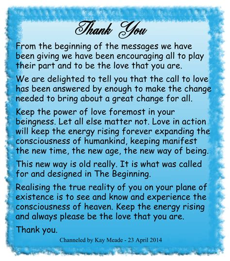 thank you channelled spiritual message from the circle