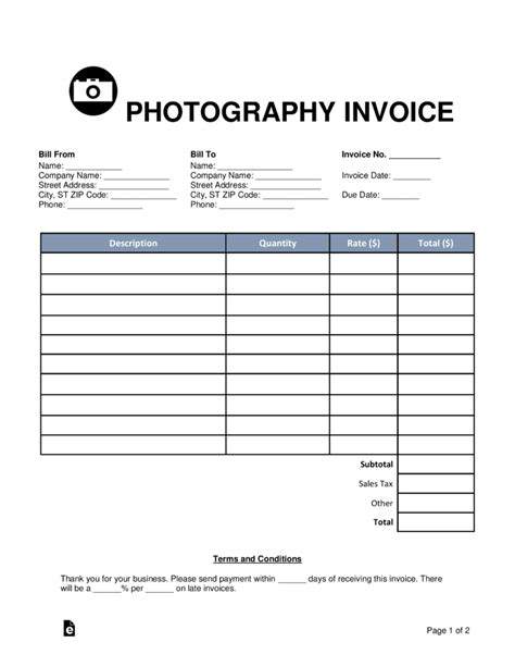Photography Template Pdf free photography invoice template word pdf eforms