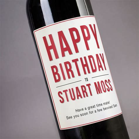 Personalised Wine   Happy Birthday Red Label In Red, White