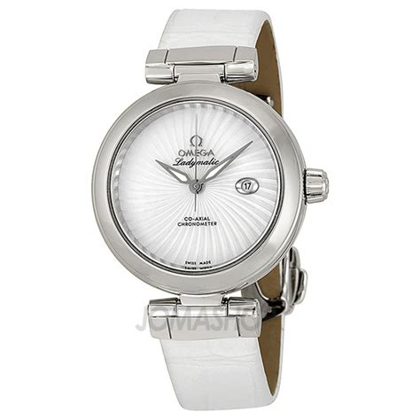 New Omega Ladymatic Silver White Leather Keren Gaaul Awet Kekiniat Hit omega de ville ladymatic automatic of pearl stainless steel 425 33 34