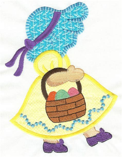 free machine embroidery applique free easter sunbonnet applique machine embroidery