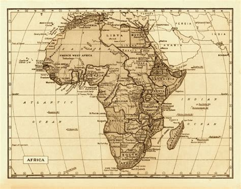 africa map 1800 map of africa 18x24 vintage 1800s archival reproduction