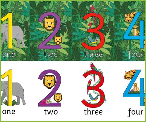 Jungle Nursery Ideas by Jungle Display Numbers Free Early Years Amp Primary