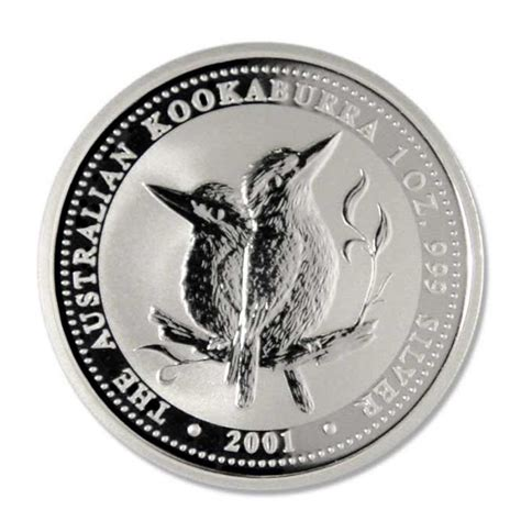 1 Oz Silver One Dollar 2001 - australia kookaburra 2001 one dollar 1 oz 999