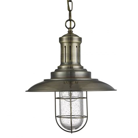 Caged Pendant Light 5401ab Fisherman Caged Pendant Antique Brass Seeded Glass
