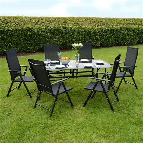Garden Dining Table And Chairs Valencia Aluminium Glass Black Modern Garden Dining Furniture Table Chairs Ebay
