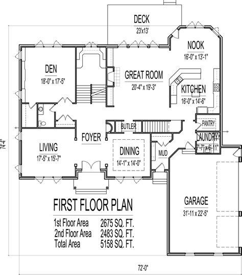 5000 sq ft floor plans house plans 4000 to 5000 square feet