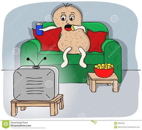tv couch potato couch potato stock vector illustration of sofa inactive