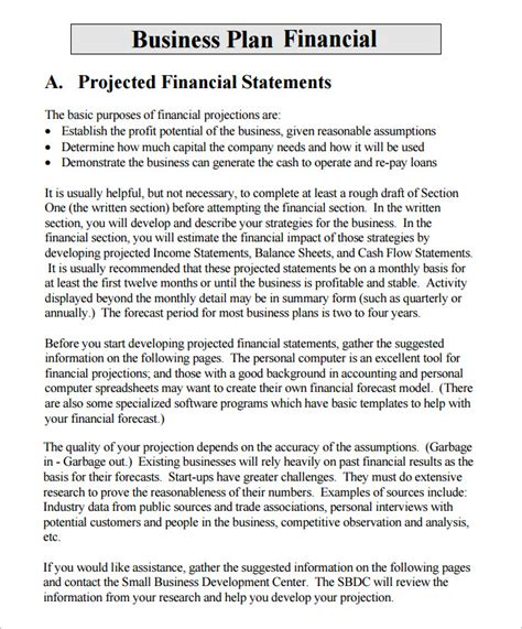 Financial Template For Business Plan financial business plan templates 8 free premium word