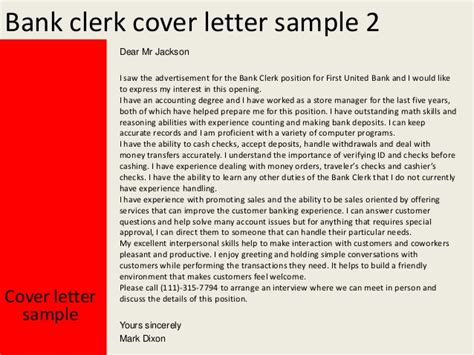 application letter for clerk bank bank clerk cover letter