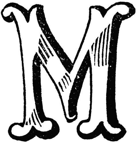 decorative letter m clipart etc