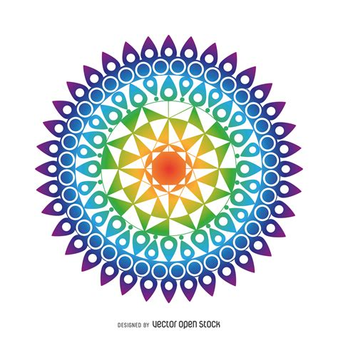 colorful mandala drawing free vector