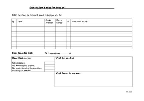 sheets reviews self review sheet by mtl78 teaching resources tes