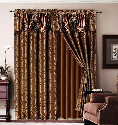 bronze curtain luxury brown jaquard bronze panel valance curtain drapes