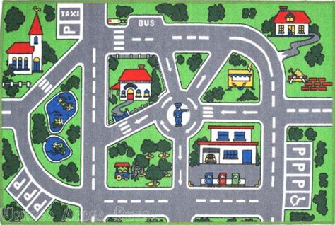 printable play road map 3x5 area rug street car policeman kids play fun time roads