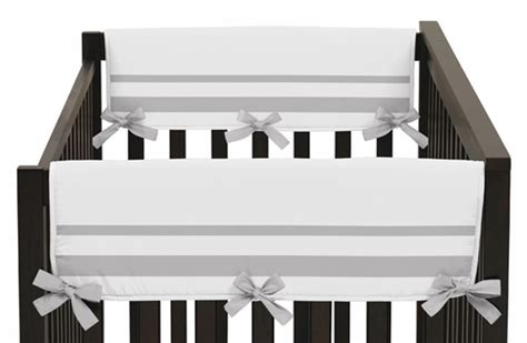 Hotel Baby Cribs White And Gray Modern Hotel Baby Crib Side Rail Guard Covers By Sweet Jojo Designs Set Of 2