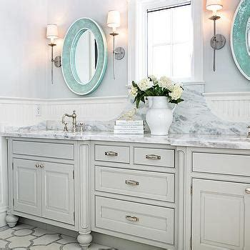 Turquoise Bathroom Vanity Turquoise Blue Vanity With Marble Countertop And Backsplash Cottage Bathroom
