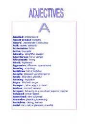 teaching worksheets adjectives