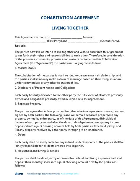 living agreement contract template sle cohabitation agreement sle cohabitation