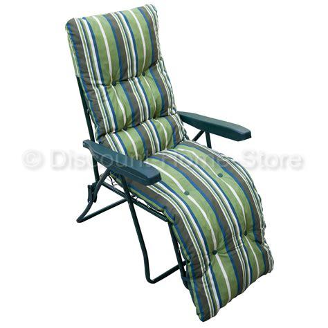 cushions for reclining garden chairs reclining garden chair relaxer sun lounger green padded