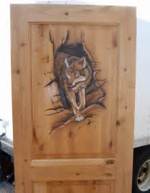 Prehung Hollow Core Interior Doors Hand Carved Amp Painted Door With Wolf Woodland Creek