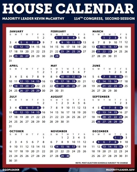 114th Congress Calendar House Of Representatives 2017 Schedule