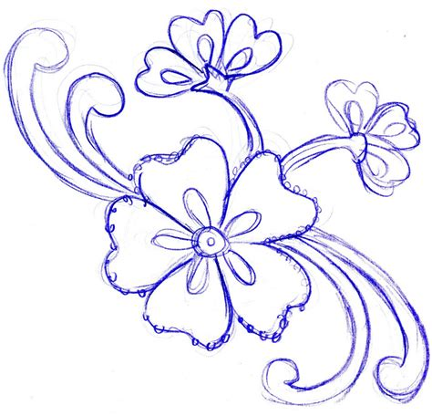 design art simple pencil sketch of flowers design drawing of sketch