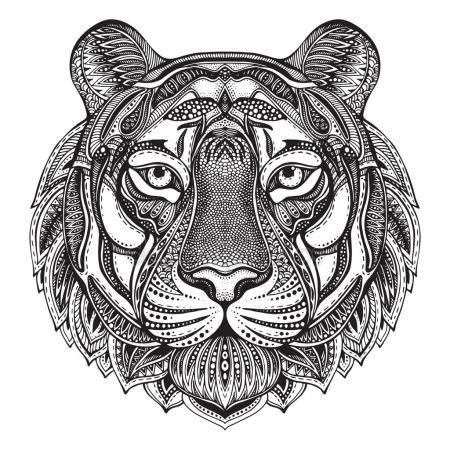 tiger mandala coloring page vecteurs pour tigre blanc mandala illustrations libres de