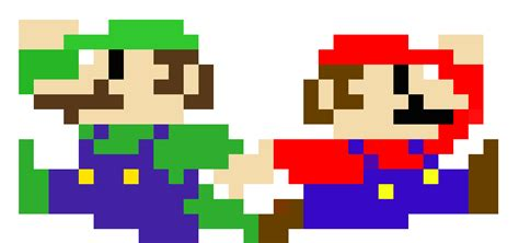 famous characters in pixel art mario and luigi mario and luigi pixels c by gingerpowersactivate on