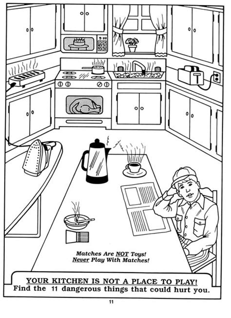 coloring page of a kitchen public education for kids division of fire safety nh