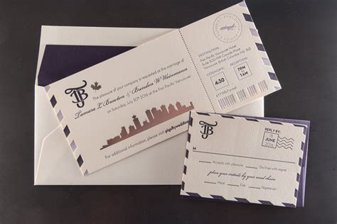 rsvp wedding invitations vancouver boarding pass invitation destination vancouver pike