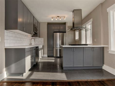 grey kitchen cabinets with white countertops 29 charming compact kitchen designs designing idea
