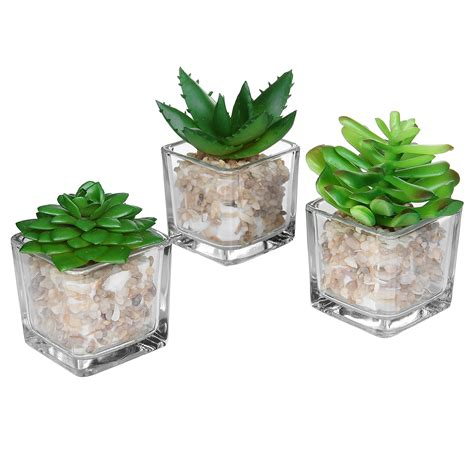Glass Planter by Small Glass Cube Artificial Plant Modern Home Decor Faux