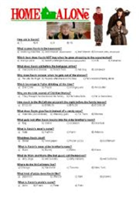 worksheets home alone quiz