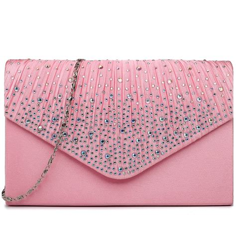 Pink Clutch ly1682 miss lulu structured diamante studded envelope