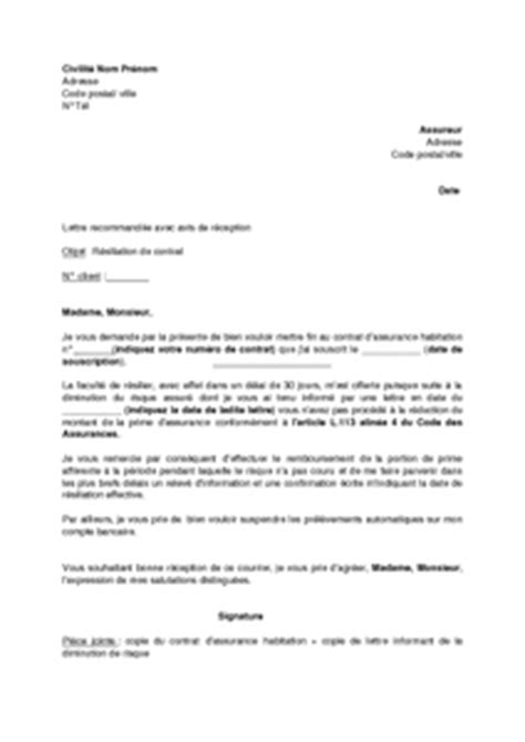Exemple De Lettre Résiliation Assurance Habitation Modele Lettre Resiliation D Assurance Habitation