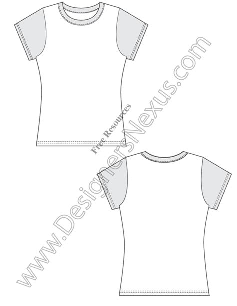 T Shirt Flat Sketches by V1 Fitted Free Vector T Shirt Design Template Sketch