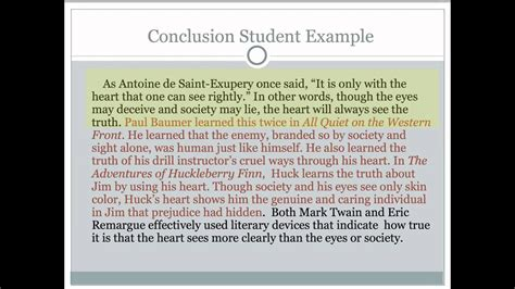 Critical Lens Essay 5 Writing The Conclusion Youtube Essay Conclusion Template
