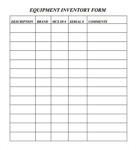 equipment inventory template sle equipment inventory template 9 free