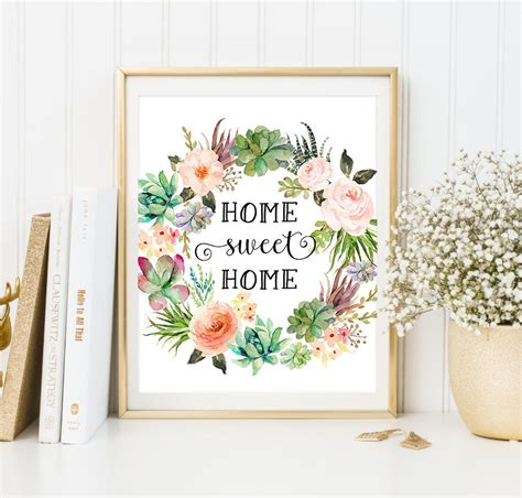 home prints floral print home sweet home print watercolor art succulent
