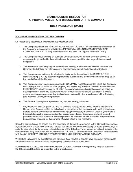 members resolution template shareholders resolution approving voluntary dissolution of