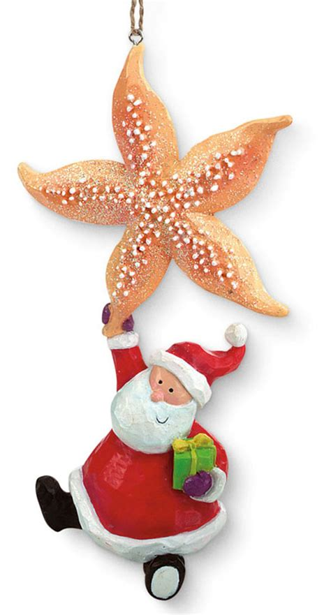 starfish and whimsical santa holiday christmas ornament ebay