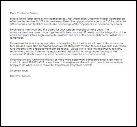 corporate officer resignation letter letter