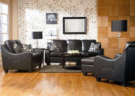 Living Rooms With Black Sofas Modern Leather Living Room 502271 Black