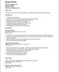Financial Advisor Resume Template finance resume exles