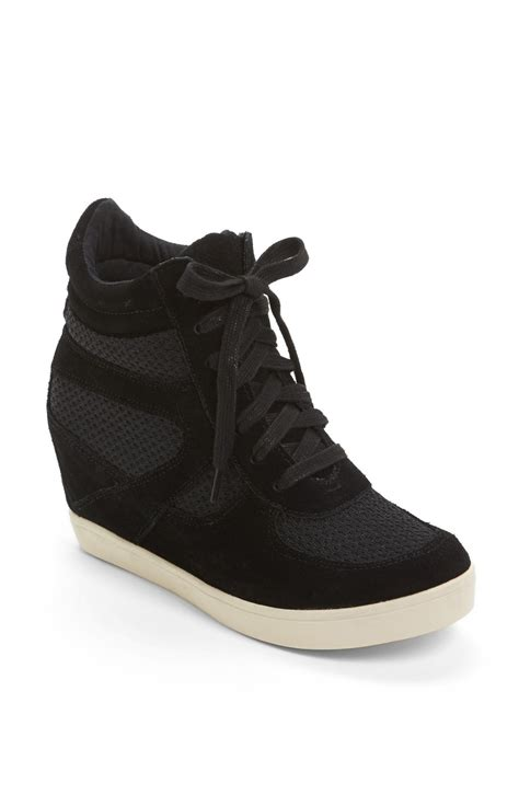 black sneaker wedge steve madden olympax wedge sneaker in black black multi